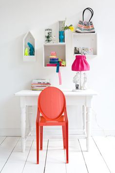 For big girls bedroom idea, living spaces, work space, color, offic, white rooms, small spaces, shelv, kid room