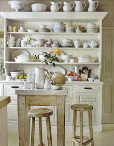 Healdsburg, California, kitchen featured in House Beautiful Magazine.  White china / ironstone / french dresser.