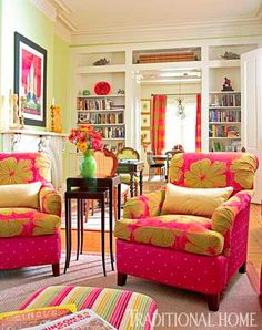 A mix of punchy colors and fun patterns enliven this living area.  Traditional Home® Photo: John Bessler / Design: Betty Murdock
