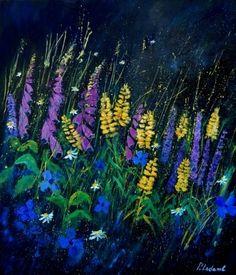 Garden flowers 679080, painting by artist ledent pol