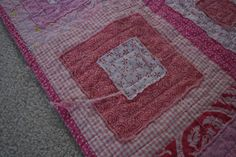 A different type of rag quilt - stacked blocks then quilted the traditional way.