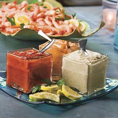 Peel-and-Eat Shrimp Set up a serving area for the shrimp and sauces on ...