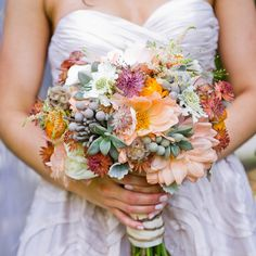 the knot, bride maids, bridal bouquets, blue flowers, weddings, inspiration boards, wedding flowers, peach, wedding planners