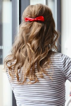 red bow, hair half up