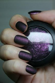 To make your own matte nail polish, make a little pile of eyeshadow (great idea for the broken shadows we all have lying around!) and mix in a little clear nail polish. No more paying $8 a bottle for the matte stuff!