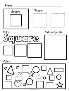 Super Simple Shape Worksheets, PreK-K, Special Education, Math Centers, Morning Work