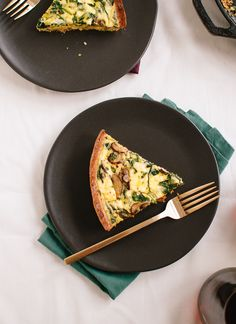 Arugula and cremini quiche with-gluten-free almond meal crust