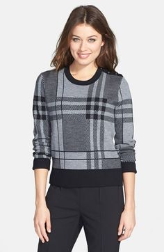 BOSS HUGO BOSS Crewneck Plaid Sweater available at #Nordstrom