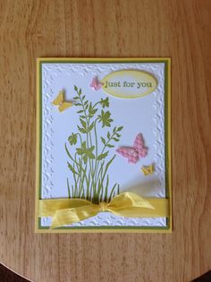 Stampin Up friendship, just for you card - with butterflies