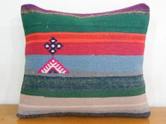 Decorative Kilim Pillow Red Geen Blue Striped Pillow Turkish Stripe Cushion Throw pillow cover with 2 medallions  Hand knit pillow Turkish