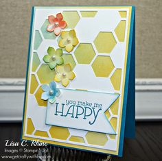 The new Hexagon Hive thinlit makes such a fun background.