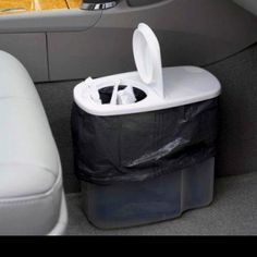 Here's a travel tip! When you head out on road trips, grab a cereal container, line it with a trash bag- INSTANT CAR TRASHCAN! Genius!