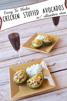 Easy To Make Chicken Stuffed Avocados with Cilantro Rice
