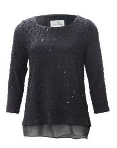 Joseph Ribkoff  Sweater.| Sweater--Blouse with sequin details. Lined with a chiffon layer creating a high-low hemline. COLOURS available | Black or Natural Ivory. #fashion #knit #sweater #josephribkoff