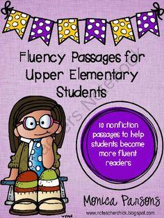 Fluency Passages for Upper Elementary Students from NCteacherchick on TeachersNotebook.com -  (17 pages)  - Fluency passages for upper elementary students - 10 passages to help improve fluency