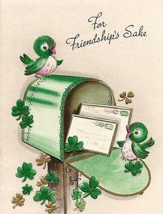 Cute vintage St. Patrick's Day card. #vintage #St_Patricks_Day #cards #birds