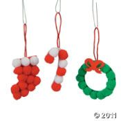 paper and pompom ornaments