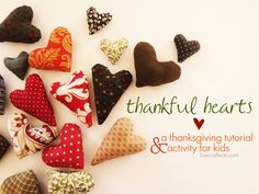 thankful hearts :: a thanksgiving tutorial & activity for kids - how to make scrap fabric hearts   www.livecrafteat.com