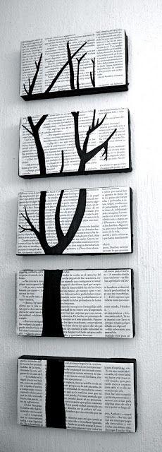 Love this DIY project that repurposes shoe box lids and old book pages. So simple but makes such an impact!    Hablando de elefantes rosas...: Decoración con libros