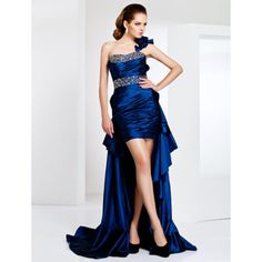 One Shoulder Taffeta Cocktail Dress With Sweep/Brush Train  – US$ 179.99