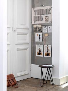 decor, wall boards, small living, grey, hallway, white interiors, kim timmerman, plate wall, think big