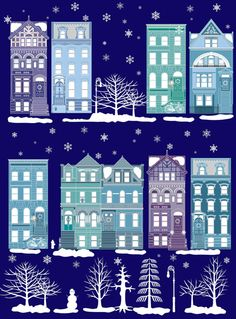 Brooklyn brownstones in the snow by Natalie Singh