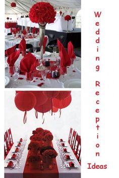 Red & White Wedding Reception Ideas