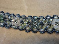 Chevron Chain Bracelet in green/blue, pattern from Bead & Button Beader's Handbook 2  Beaded by Karla Krohn