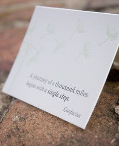 Inspiration card with quote,  letterpress printed, eco-friendly, Confucius quote, dandelion drawing on Etsy, $3.75