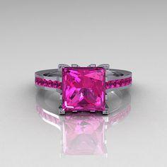 Modern Italian 14K White Gold 2.0 Carat Princess Pink Sapphire Solitaire Ring