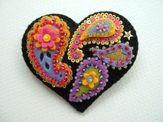 Beaded Felt  Heart - paisley 2