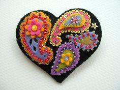 Beaded Felt  Heart - paisley 2