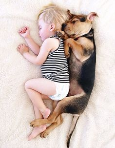 toddler Beau's daily nap with rescue puppy Theo