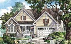Home Plans HOMEPW07673 - 1,952 Square Feet, 4 Bedroom 3 Bathroom Cottage Home with 2 Garage Bays