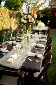 Wanted: Burlap and lace wedding decor rehearsal dinners, outdoor table settings, dinner parties, wood tables, outdoor parties, outdoor tables, table runners, reception tables, outdoor receptions