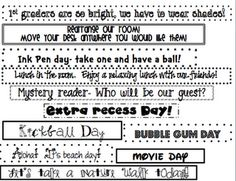 activities to put in numbered balloons counting down the last day of school