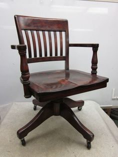 Mid Century Gunlocke Rolling Maple Office Chair