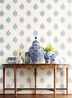 Schumacher 'Asara Flower' in Delft - blue & white floral medallion wallpaper - www.fschumacher.com/search/ProductDetail.aspx?sku=5005321