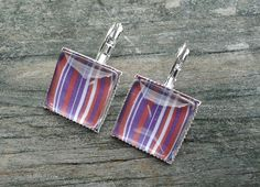 Red White Purple Earrings, Silver pierced tile type. $8.00, via Etsy.