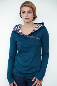turquoise hoodie shirt - flowers - tucks