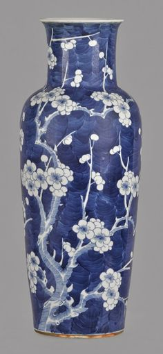 Chinese Kangxi blue and white porcelain vase, decorated with prunes, 17 1/2'' h