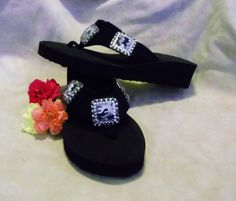 Western Black and white camo bling cowgirl flip flops. Accented with genuine glass crystals.   $40.00   www.pamperedcowgirl.com