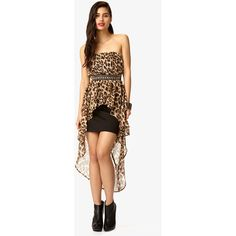 FOREVER 21 Strapless Leopard Print High-Low Dress ($17) found on Polyvore