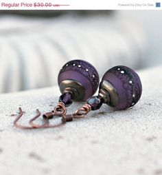 Silk Road  Purple Lace Lampwork Drop by LunarBelle
