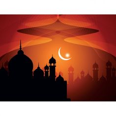 Islamic silhouette mosque background