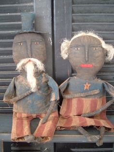 Grungy Uncle Sam & Miss Liberty Cloth Dolls