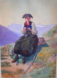 Original Watercolor by Eugene-Louis Martin.          Peasant girl knitting in the Alps.