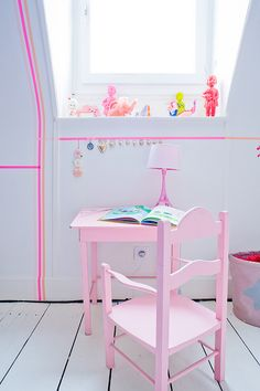 washi tape wall little girls, wall deco, wall treatments, kid rooms, pink, little girl rooms, tapes, washi tape, masking tape