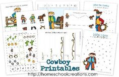 Free early learning printables for a cowboy or cowgirl unit. Focusing on #ece skills for preschool to kindergarten. Created by Homeschool Creations.