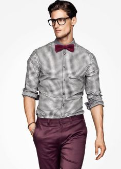 Burgundy pants and bow tie
